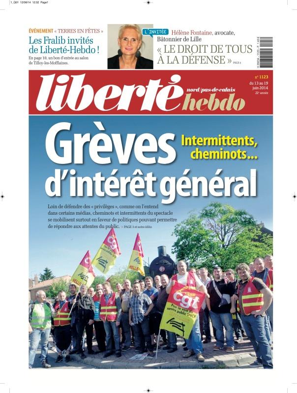 Une de Liberté-Hebdo du vendredi 13 juin 2014